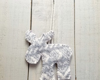 Wool Felt Moose Ornament- Primitive- Fair Isle