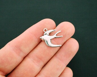 8 Swallow Bird Charms Antique Silver Tone - SC6130