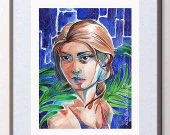 Tropical Art Print - Watercolor Painting - Download Printable Art - Jungle Portrait - Rainforest Painting - Print Your Own Art - Fine Art