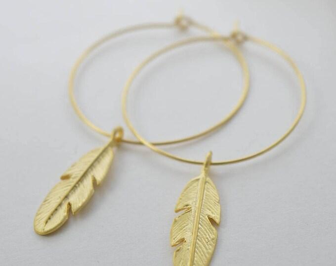 Large Feather Hoop Earrings