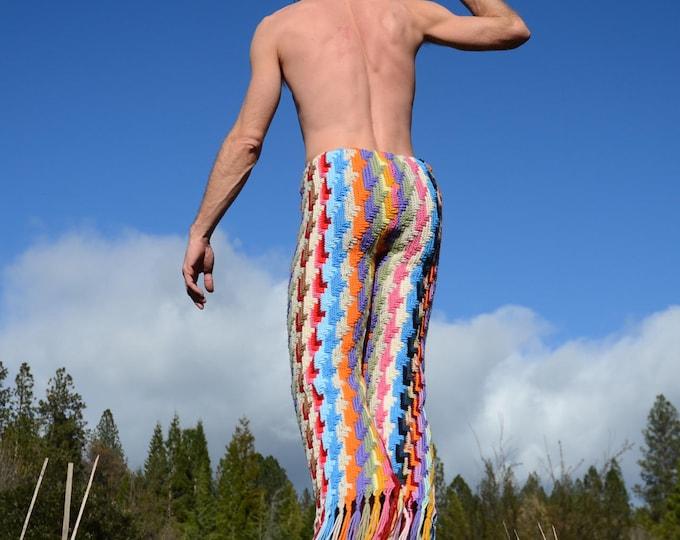 Crochet Pants Multicolor Lightning Bolts and Fringe SALE!!