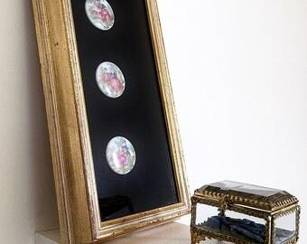 Fragonard Love Story Cameos Shadowbox Framed Vintage Limoges Porcelain On Black Velveteen Under Glass Hollywood Regency Rococo Home Decor