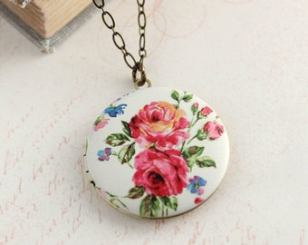 Floral Locket Necklace Pink Red Flower Photo Locket Pendant Summer Garden Gift for Her Womens Fashion Boho Chic Vintage Style White Pendant