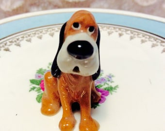 Vintage Miniature Hound Dog Figurine made of Bone China 1960s Anthropomorphic