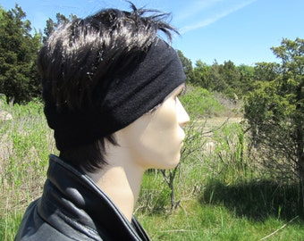 WIDE Black Headband Hair band Men's Head Warmer Cotton Cashmere Dreadlock Tube Hat A1392