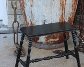 Vintage Wood Wooden Stool Bench Step Stool Plant Stand Black Painted Farmhouse Stacking French Cottage Chic Decor