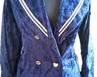 Blue Velvet Sailor Coat
