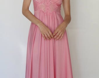 Sweet Pink Lace Detail Maxi