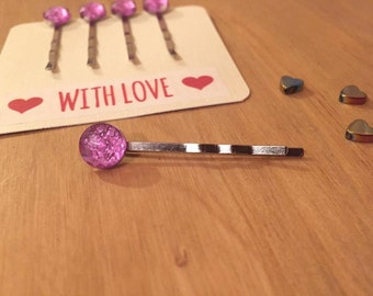 4 pink crackled rhinestone bobby pins, hair grips,  proceeds to charity