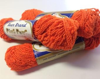 Vintage Novelty Yarn, Ping Pong by Bear Brand, Orlon and Wool Blend, Bright Orange Knitting Yarn