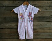 SUPER SALE - Vintage Little Girls Pink Romper with Bears by Dr. Denton Size 12 Months