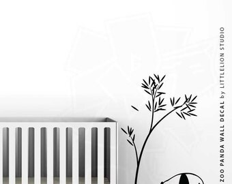 Baby Zoo Panda Wall Decal by LittleLion Studio: Showing ALL Black, ALL White, Black/Green, Medium Gray/Light Green