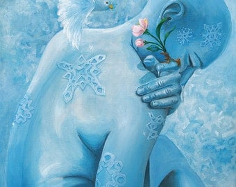 "Wintery blue figure curled up with a Spring apple blossom growing from a finger with white bird - Art Reproduction (Print) - ""Winter Wanes"""