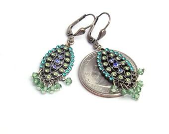 Green Purple and Aqua Dainty Sparkle Earrings Chandelier Earrings