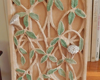 Wood Carving Vine and Blossom Part of American Wildflower Series Wood Carving from a single block of wood. Based on a real  hoya vine .