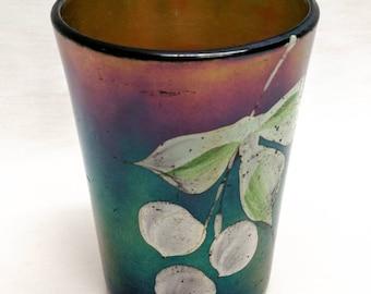 Vintage Art Glass Cobalt Rainbow Iridescent Drinking Glass Tumbler Hand Painted Floral