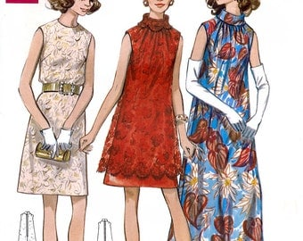 Butterick 5532 Vintage 60s Sewing Pattern for Misses' Evening Dress - Uncut - Half Size 16.5