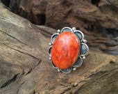ORANGE BLOSSOM Vintage Style Ring | Paul Livingston Spiny Oyster Silver Ring | Large Statement, Native American, Navajo Jewelry, Boho | Sz 7
