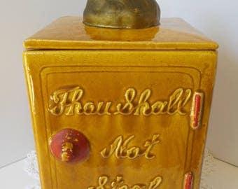 Vintage SAFE COOKIE Jar, Thou Shall not Steal Cookie Jar, Collectible Cookie Jar, Ceramic Calif USA 482 Cookie Jar, Money Bag Cookie Jar