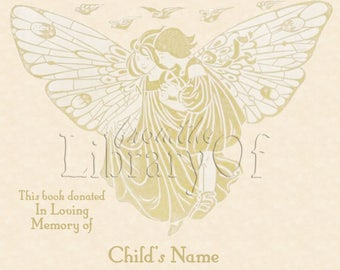 Butterfly Fairy - In Loving Memory- Adhesive Backed Personalized Bookplates -  A Book is a WONDERFUL Tribute