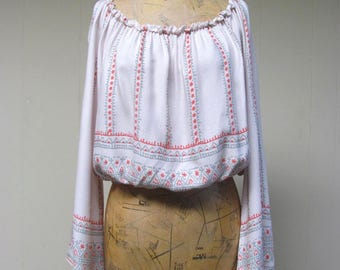 Vintage 1990s Blouse / 90s Ivory Boho Print Peasant Top / Medium