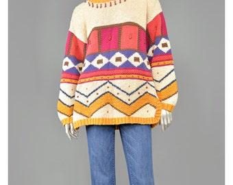30% 0FF SALE Tunic Sweater Geometric Sweater Color Block Sweater Tribal 90s Sweater Wood Beaded Sweater Oversize Cotton Sweater