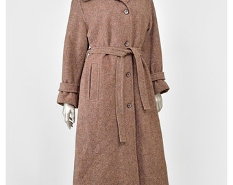 30% 0FF SALE Tweed Wool Trench Coat Long Wool Coat 70s Coat Mauve Grey Brown Forecaster of Boston Belted Coat 1970s Tweed Coat