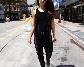 Black Velvet Jumpsuit, Velvet Romper, Drop Crotch Jumpsuit, Quality Velvet, Available in More Colors. Sizes S, M, L, XL