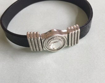 Silver Swarovski Crystal Clasp Leather Bracelet