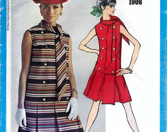 Vogue Americana 1906 Bill Blass Misses 60s Dropped Waist Dress Sewing Pattern with Vogue Label Size 14 Bust 36 Inverted Box Pleat with Scarf