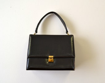 1960s Black-Brown Vinyl Purse
