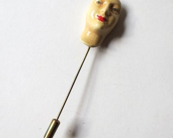 Haunting Enamel Face Stick Pin, 70s Avant Garde Female, Abstract Woman Sculpture, Tiny Lady Face, Jackpot Jen vintage