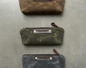 Pencil case,  small pouch,  pencil pouch made in waxed canvas