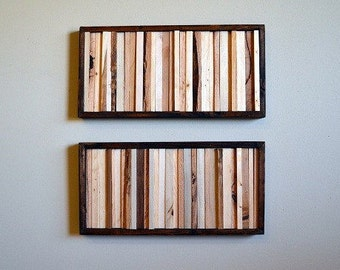 Organic Wood Scultpure Wall Art - 8 x 16 - Framed  - Set