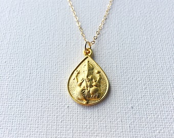 Ganesh Ganesha Elephant God Gold Necklace, Ganesha Pendant Necklace, Ganesh Necklace, Ganapati, OM Necklace, Spiritual Yoga Jewelry,