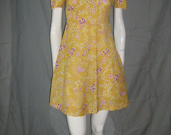 1960s Yellow Floral  Mod Scooter Dress Space age Mini Garage Ska  1960s  70s Girl Group VlV