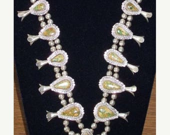 Spring SALE Native American Squash Blossom Necklace w/ Earrings