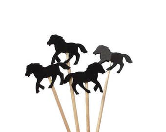 24 Black Horse Cupcake Toppers, Derby Day Party Decorations, Toothpicks - No1011