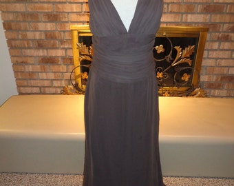 Vintage 90s Chocolate Brown Chiffon Evening Gown
