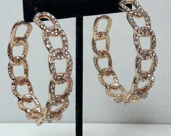 Vintage Gold Crystal Hoop Earrings