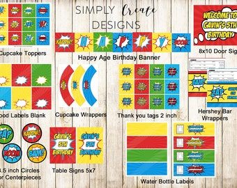 Sale Superhero Party Package Digital Party NON Personalized  PDF file INSTANT Download