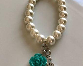 Ivory pearl bracelet with letter and turquoise rose, initial bracelet, personalized jewelry, bridal bracelet, bridesmaids bracelet