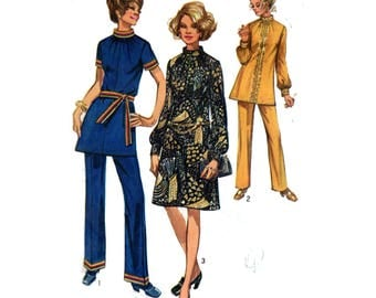 """Womens Mod Dress or Tunic Elastic Waistline Pants Trousers Sewing Pattern Vintage 70s Size 14 Bust 36"""" (91 cm) Simplicity 9085 G"""