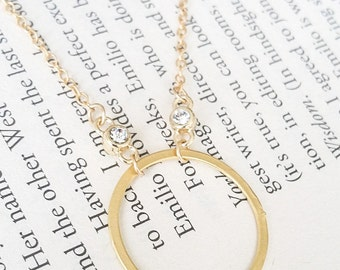 Circle Necklace, Gold Circle Necklace, Large Gold Circle Necklace, Large Circle Necklace