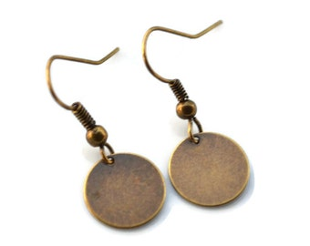 Antique Brass Discs . Earrings
