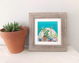 En La Manana Modern Hand Embroidery. Framed Embroidery. Embroidered Flowers Flower Painting  Still Life Framed Art. Hand Stitched Art HOOPLA