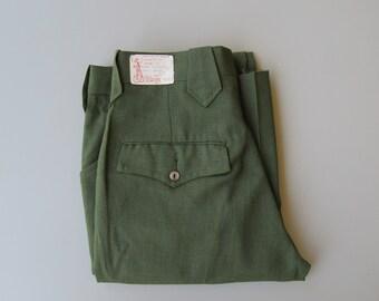 Vintage 1960s Deadstock Men's Western Cut Green Slacks. Mens Vintage 60s Perma Prest Slacks. Size XS