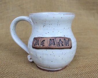 Personalized pottery mug, gift for grandparents, Stoneware wheel thrown