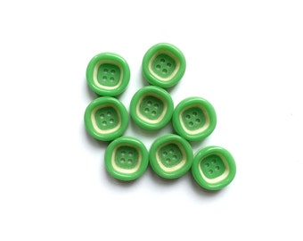 Green Buttons, 8 Vintage Green & Cream Buttons