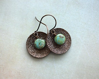 Embossed Concave Circles / Green Turquoise Picasso Glass Stones / Brass Earrings